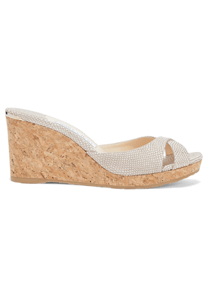 Jimmy Choo Almer 80 Metallic Snake-effect Leather Wedge Sandals Woman Off-white Size 36
