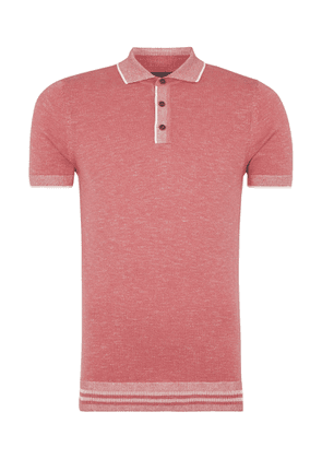 Coral Pink With White Trim Knitted Polo Shirt