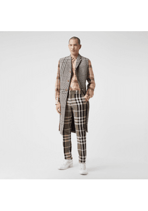 Burberry Slim Fit Check Technical Cotton Tailored Trousers