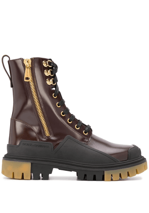 Dolce & Gabbana ridged lace-up leather booties - Brown