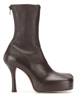 Bottega Veneta square-toe ankle boots - Brown