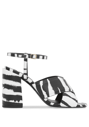 Burberry watercolour print block-heel sandals - Black