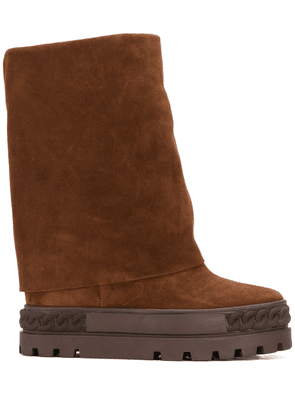Casadei suede folded boots - Brown