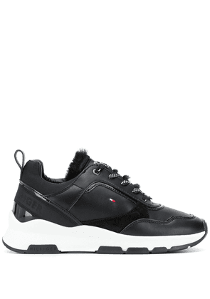Tommy Hilfiger fur-trimmed low-top sneakers - Black