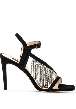 Pinko crystal fringe heeled sandals - Black
