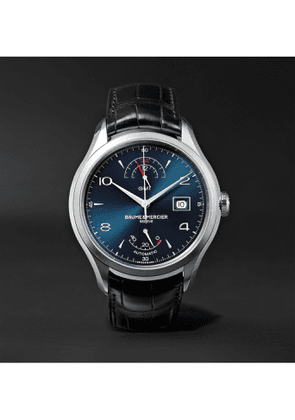 Baume & Mercier - Clifton Automatic Dual Time Power Reserve 43mm Stainless Steel and Alligator Watch, Ref. No. 10316 - Men - Blue