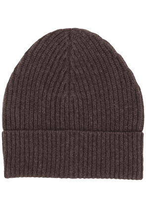 Maison Margiela ribbed-knit wool beanie - Brown