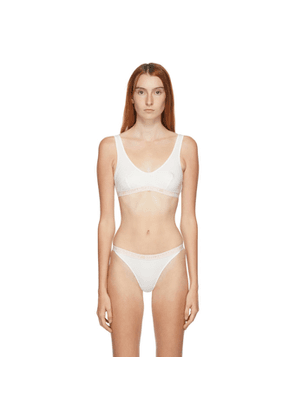 Stella McCartney White and Pink Ivy Chatting Cotton Bralette