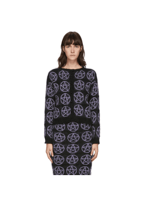 Ashley Williams Black and Purple Mohair Pentagram Cardigan