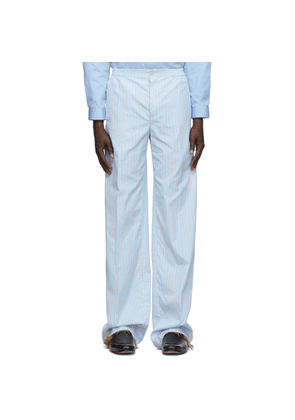 Gucci Blue and White Striped Cotton Trousers