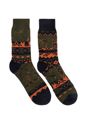 Sacai Khaki Dr. Woo Edition Cotton Socks