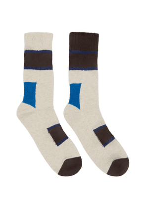 Sacai Brown Horizontal Stripe Socks