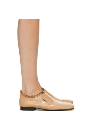 BY FAR Beige Patent Leather Nick Loafers