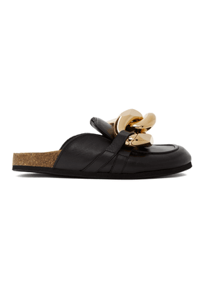 JW Anderson Black Leather Curb Chain Loafers