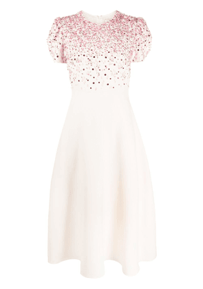 Valentino beaded mid-length dress - Neutrals