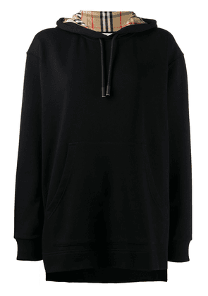 Burberry oversized checked hoodie - Black