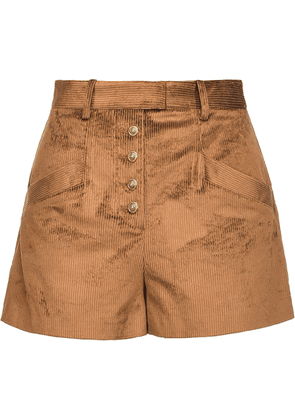 Pinko distressed corduroy shorts - Brown