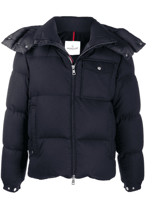 Moncler logo patch padded jacket - Blue