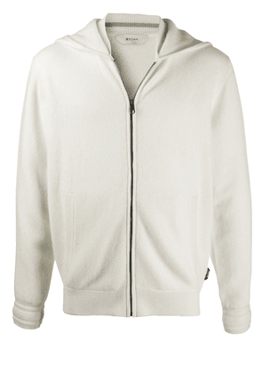 Z Zegna zip front cashmere hoodie - N01 WHITE