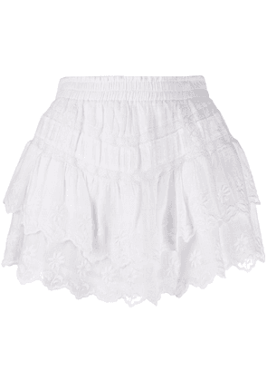 LoveShackFancy embroidered detail skirt - White