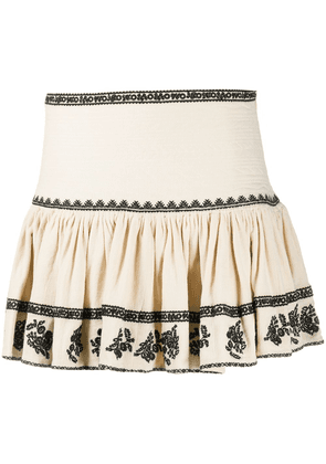 Isabel Marant Étoile Russell embroidered mini skirt - Neutrals