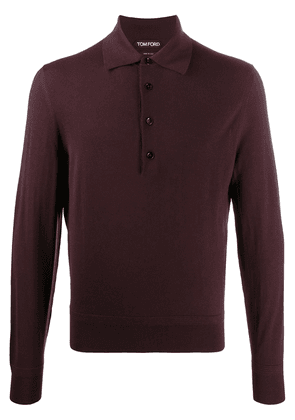 Tom Ford long-sleeve wool polo shirt - Red