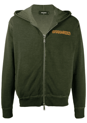 Dsquared2 logo print zip-up hoodie - Green
