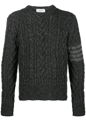 Thom Browne 4-bar cable knit jumper - Grey