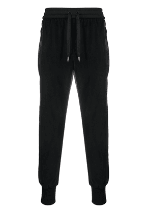 Dolce & Gabbana cropped panelled corduroy track pants - Black