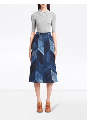 Prada herringbone patchwork denim skirt - Blue