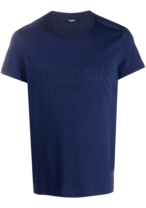 Balmain embossed logo T-shirt - Blue