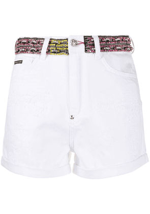 Philipp Plein rhinestone-embellished denim shorts - White