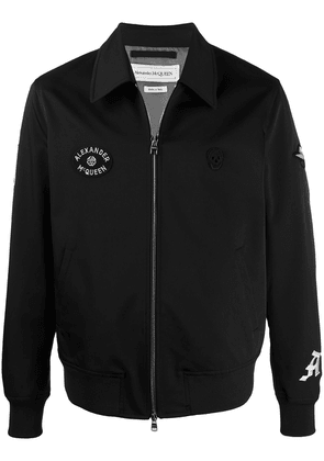 Alexander McQueen logo-embroidered zip-up jacket - Blue