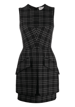 Alexander McQueen check-pattern sleeveless dress - Black