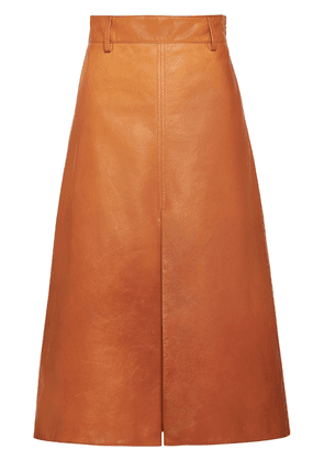 Prada lambskin leather A-line skirt - Brown