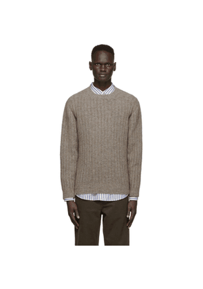 Schnaydermans Khaki Mohair and Wool Seamless Rib Sweater