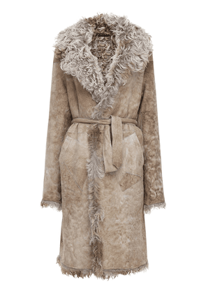 Reversible Shearling & Suede Long Coat