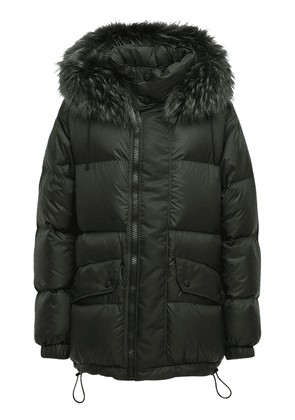 Nylon Down Jacket W/ Fur Trim