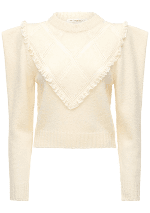 Wool Knit Sweater W/ Lace Trim