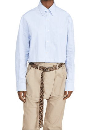 R13 Oversized Cropped Button Up Shirt