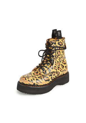 R13 Single Stacked Lace Up Boots