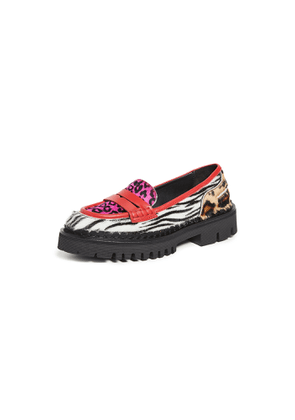 No. 21 Mixed Print Loafers
