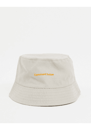 ASOS DESIGN bucket hat in peached cotton with embroidery in stone