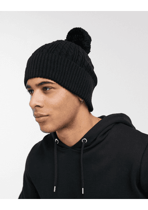 ASOS DESIGN bobble beanie in black cable knit