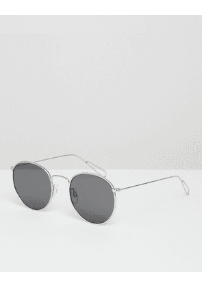 Weekday Explore Metal Round Sunglasses In Silver