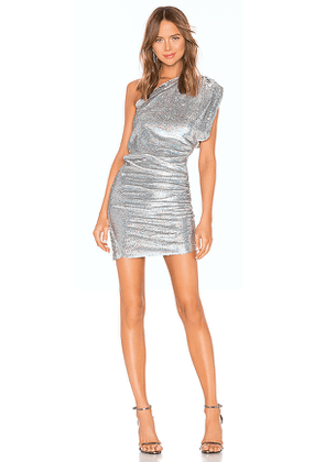 IRO X REVOLVE Exciter Dress in Metallic Silver. Size 34/2.