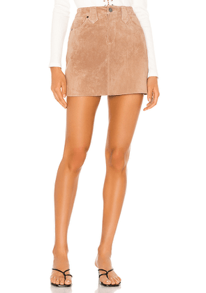 BLANKNYC Suede Mini Skirt in Tan. Size 25.