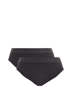 Sunspel - Pack Of Two Cotton-blend Briefs - Mens - Black