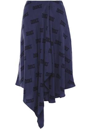 Acne Studios Ilsa Asymmetric Printed Washed-cupro Skirt Woman Storm blue Size 40
