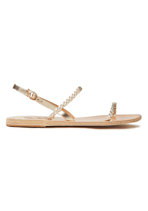 Ancient Greek Sandals Irida Braided Smooth And Metallic Leather Slingback Sandals Woman Platinum Size 36